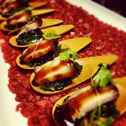 Black Garlic Braised Pork Belly with Wilted Spinach