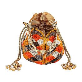 Multi Beads Lotus Potli Bag