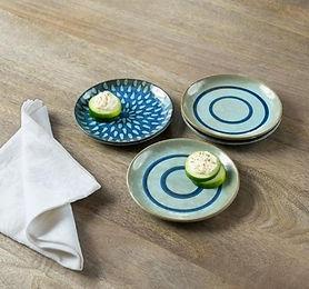 Indigo Stamp Ceramic Snack Plate (Set of 4)