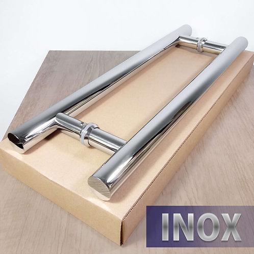 Puxador de 40cm INOX 304 Tubular 25mm com 30cm entre furos - PolidoPolido