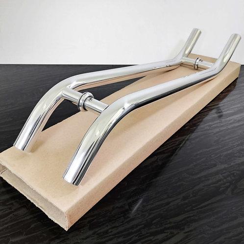 """Puxador de 60cm em Alumínio H em """"S"""" 1"""" com 40cm entre furos - Polido"""