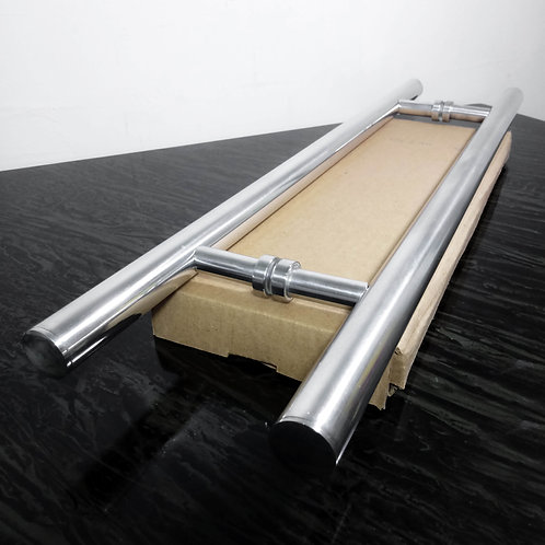 Puxador de 60cm em Alumínio H Tubular 25mm com 40cm entre furos