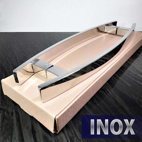 Puxador de 40cm INOX 304 Barra Chata Curvo 30x10mm c/ 30cm entre furos - Polido