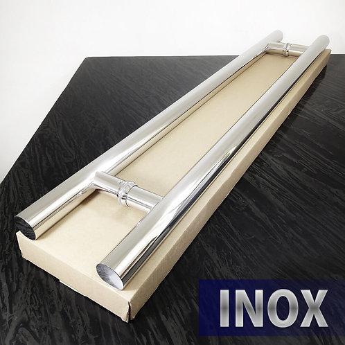 Puxador de 80cm INOX 304 Tubular 32mm com 60cm entre furos - Polido