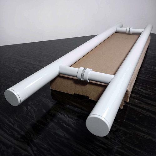 """Puxador de 60cm em Alumínio H Tubular 1"""" com 40cm entre furos - Branco"""