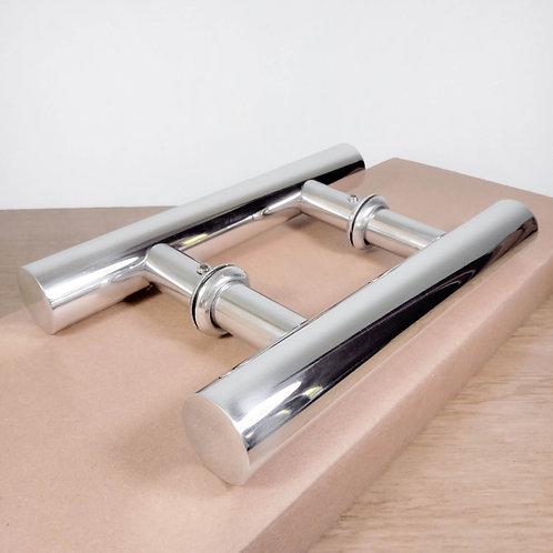 """Puxador de 20cm em Alumínio H Tubular 1"""" 1/8 com 10cm entre furos - Polido"""