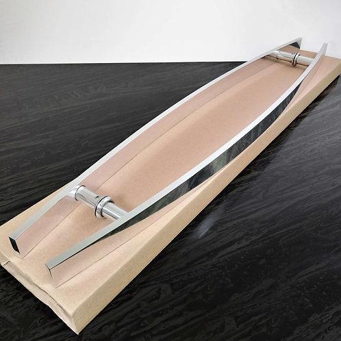 """Puxador 80cm em Alumínio H Barra Chata Curvo 1"""" 1/4 c/ 60cm entre furos - Polido"""