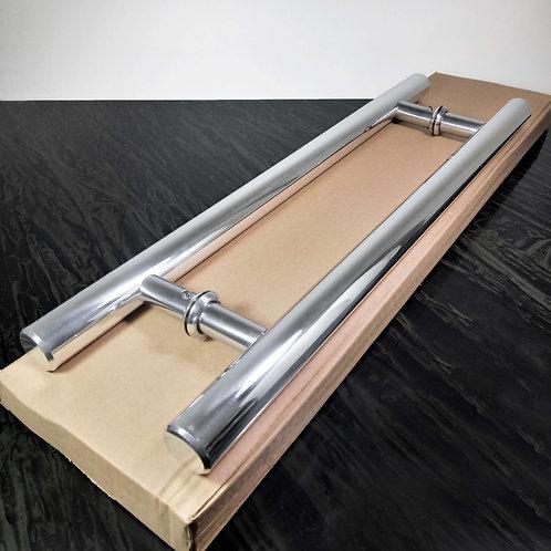 Puxador de 50cm em Alumínio H Tubular 29mm com 35cm entre furos - Polido