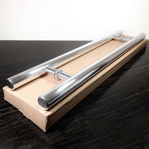 """Puxador de 60cm em Alumínio H Tubular 1"""" 1/8 com 40cm entre furos"""