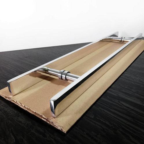 Puxador de 60cm em Alumínio H Barra Chata 32mm com 40cm entre furos - Polido