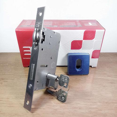 Fechadura Rolete Porta Abrir/Pivotante c/ reg. Roseta Quadrada INOX 740R55CR