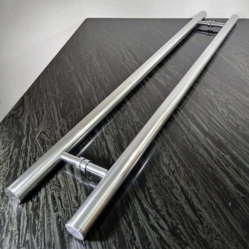 """Puxador de 1mt em Alumínio H Tubular 1"""" 1/4 com 80cm entre furos - Polido"""