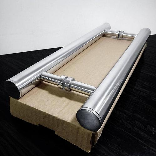 """Puxador de 40cm em Alumínio H Tubular 1"""" 1/4 com 30cm entre furos"""
