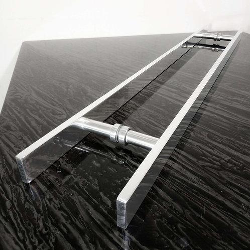 Puxador de 80cm em Alumínio H Barra Chata 32mm com 60cm entre furos - Polido