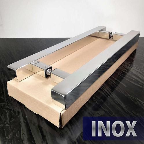Puxador de 40cm INOX 304 H Barra Quadrada 30x30mm c/ 30cm entre furos - Polido