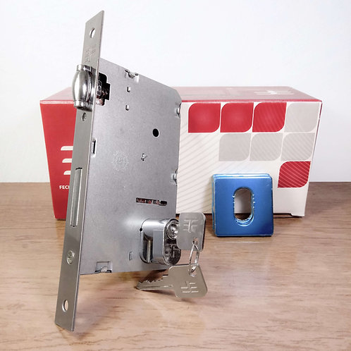 Fechadura Rolete Porta Abrir/Pivotante c/ reg. Roseta Quad. INOX 840R55CR