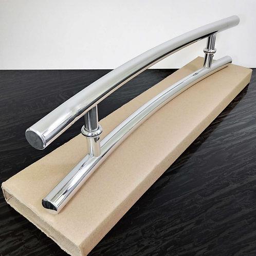 Puxador 60cm em Alumínio H Tubular Arqueado 1'' c/ 40cm entre furos -Polido