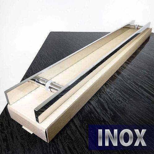 Puxador de 1mt INOX 304 Barra Chata 40x10mm com 80cm entre furos - Polido