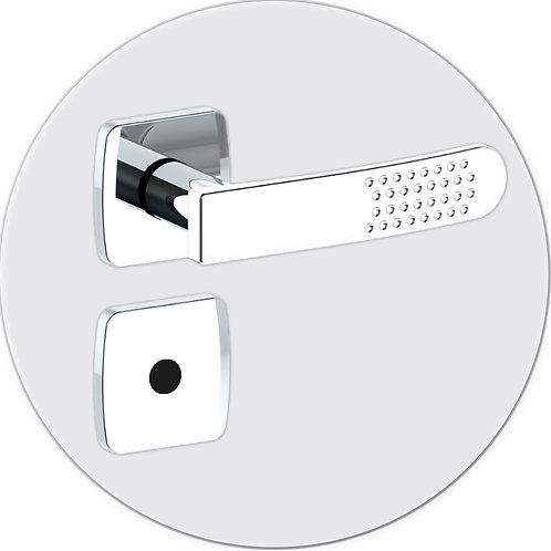 Fechadura c/ Maçaneta Viena WC Roseta Quadrada Cromada Chave Fixa