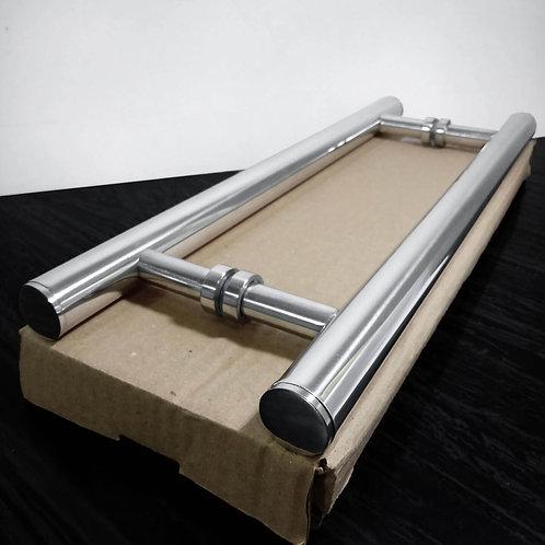 """Puxador de 40cm em Alumínio H Tubular 1"""" com 30cm entre furos"""