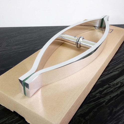 """Puxador de 38cm em Alumínio de 01 Furo Barra Chata Curvo 1"""" 1/4"""