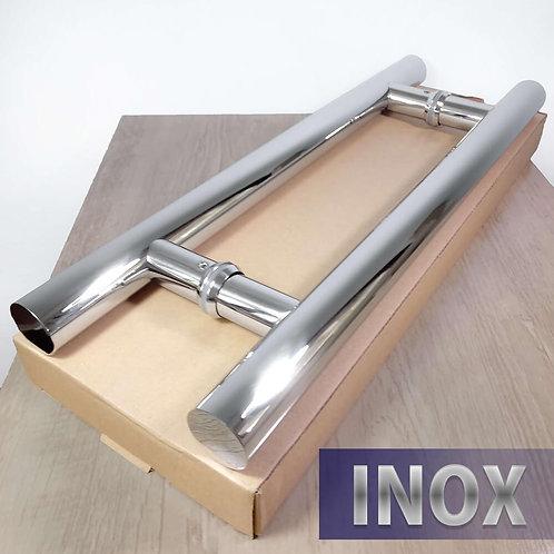 Puxador de 45cm INOX 304 Tubular 32mm com 30cm entre furos - Polido