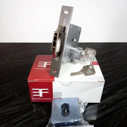 Fechadura Porta de Correr Bico Duplo Roseta Quadrada INOX 4145BP55/CRQ