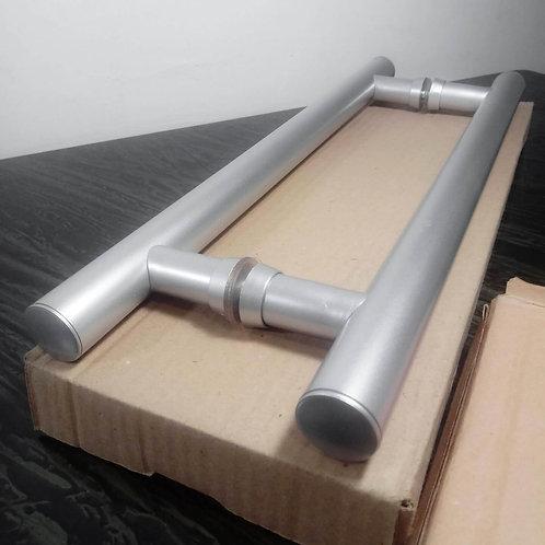 """Puxador 40cm em Alumínio H Tubular 1"""" com 30cm entre furos - Fosco(Porta Vidro)"""