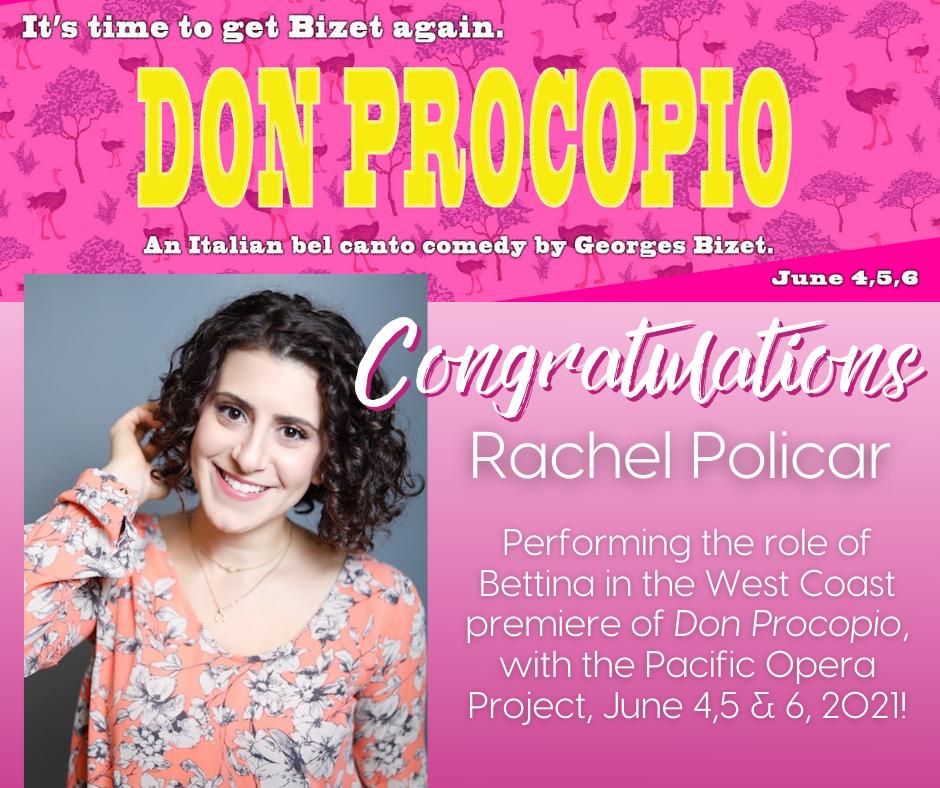 Rachel Policar plays Bettina in POP's Don Procopio!