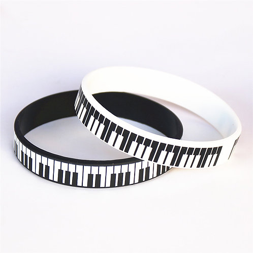 1PC Hot Sale Black White Printed Piano Keycboard Silicone Wristband Music Note