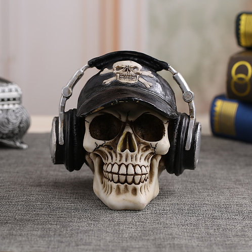 Resin Craft Statues for Decoration Skull Wearing Headphones Decoration Skull