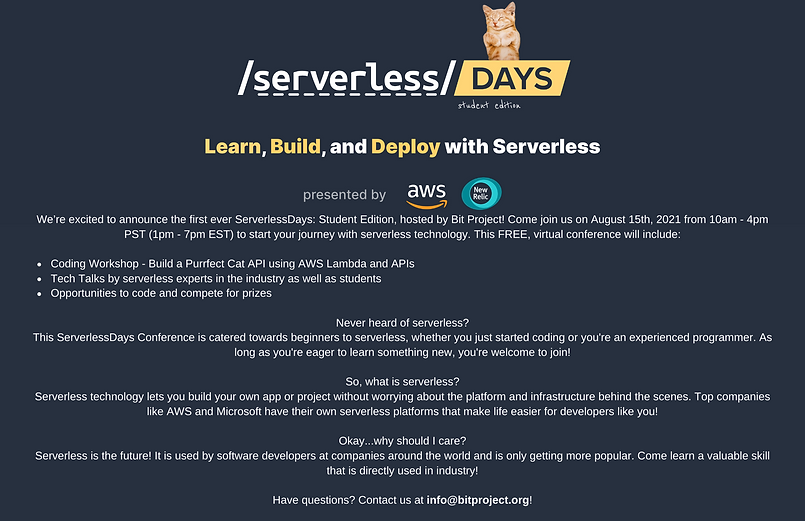 We're excited to announce the first ever ServerlessDays Student Edition, hosted by Bit Pro