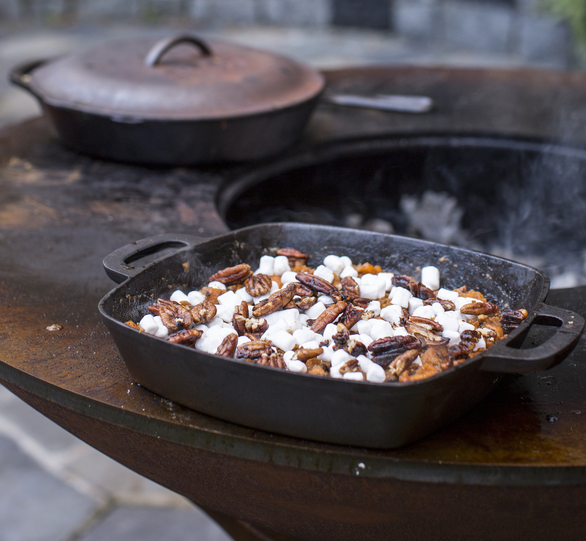 Grilled Yam Smash with Candied Pecans and Marshmallows