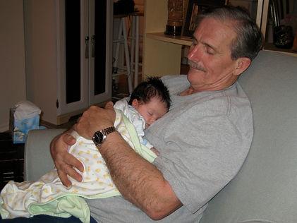 8.23ga Grandpa and Keshav at 1 month 200