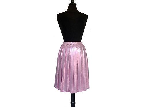 Falda plisada rosa metálico