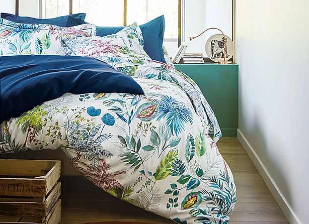 COUETTE PALMERAIE BLEU PAON    _catherin