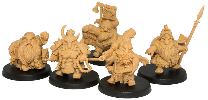 3d prints of dwarf characters, made by Durgin Paint Forge