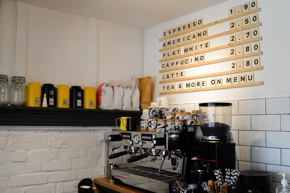 SUP's coffee machine and coffee menu.