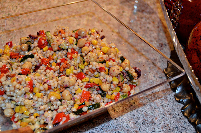 PEARL COUSCOUS SALAD WITH ROASTED VEGETABLES AND  GARBANZO BEANS
