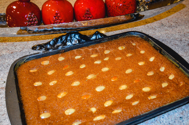 MIDDLE EASTERN SEMOLINA CAKE WITH SIMPLE SYRUP (BASBOUSA, NAMOURA, OR HARISSA)