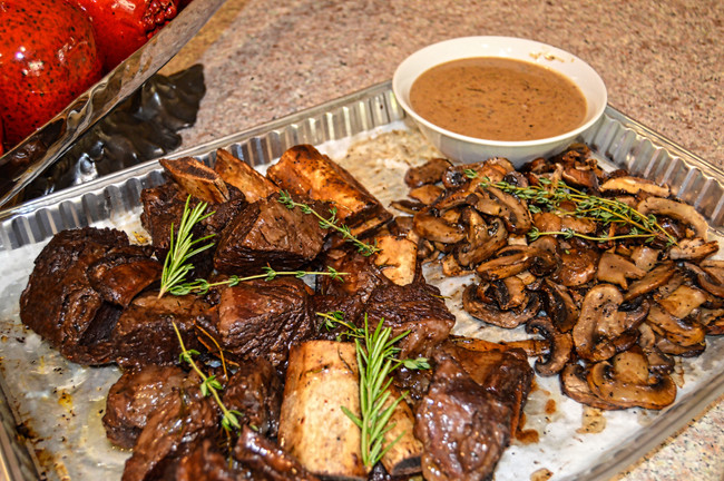 WINE BRAISED SHORT RIBS WITH ROASTED MUSHROOMS AND A CREAMY PAN SAUCE