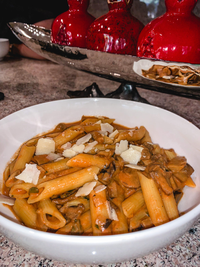 PASTA WITH THREE MUSHROOM TOMATO SAUCE