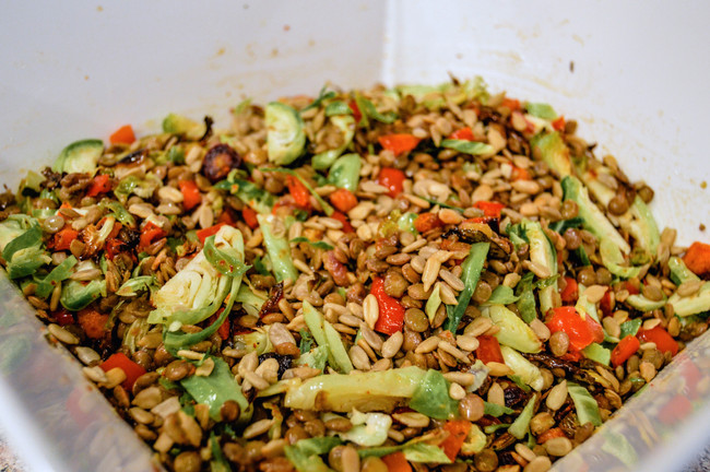 LENTIL SALAD WITH BRUSSELS SPROUTS, ROASTED BELL PEPPERS, AND CARROTS