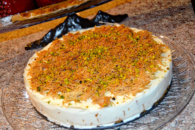 GOLDEN KATAYFI CAKE WITH ROSE AND ORANGE BLOSSOM FLAVORED CREAM (OSMALIEH)
