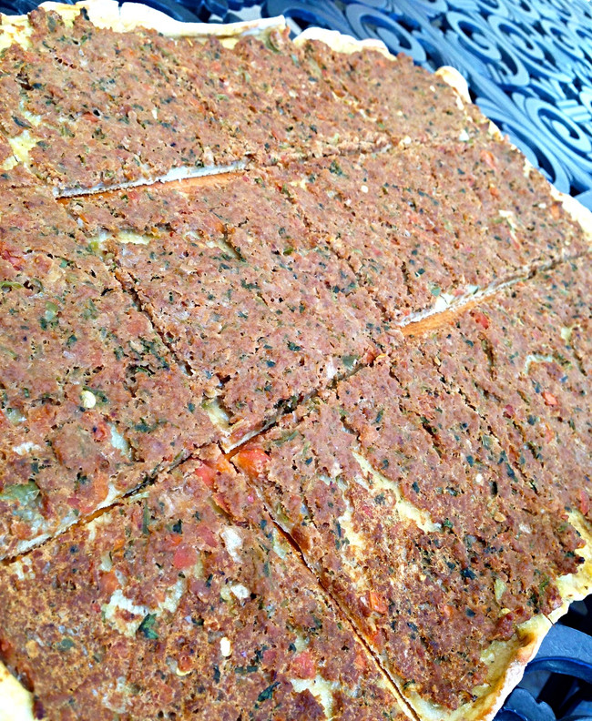 GROUND BEEF & VEGETABLE PIZZA (LAHMAJOUN)