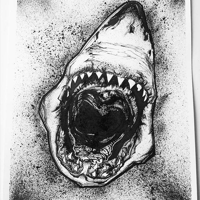 Shark attack! Ink study from artist Robert Longo #drawing #ink #inkdrawing #inkart #inkillustration