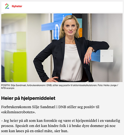 Silje Sandmæl DNB skilsmisserobot TV2