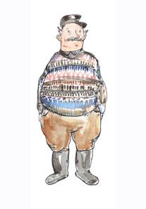 starszy pan w swetrze