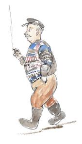 starszy pan w swetrze idzie