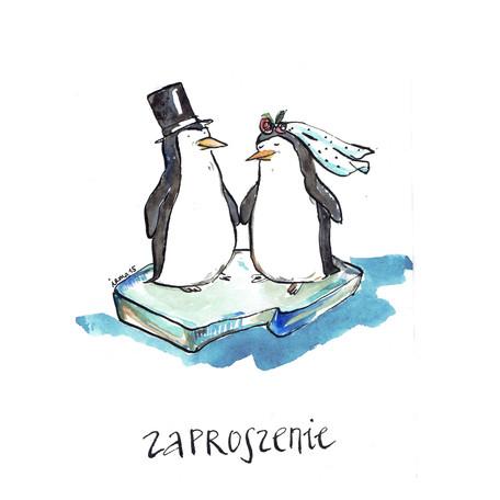 zaproszenie indywidualne para pingwinów